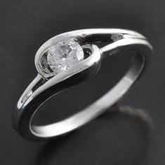 Inel dublu placat aur alb 18K cristale zirconiu, marime 5 si 9(US) -IN1-IN2 - Inel placate cu aur, 57 - 67