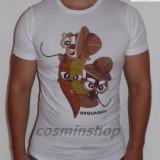 Tricouri DSQUARED - Model NOU - Slim Fit - Alb / Bleumarin !!!