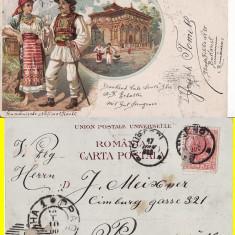 Salutari din Romania - Bucuresti - litografie 1900 - Carte Postala Muntenia pana la 1904, Circulata, Printata
