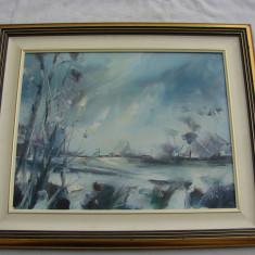 Impresionanta pictura realizata in ulei pe panza, mana de maestru, semnata indescifrabil, Impresionism