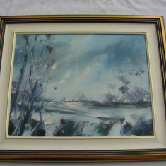 Impresionanta pictura realizata in ulei pe panza, mana de maestru, semnata indescifrabil - Tablou autor neidentificat, Impresionism