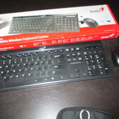 Tastatura wireless cu mouse GENIUS, Ergonomica, Fara fir, USB