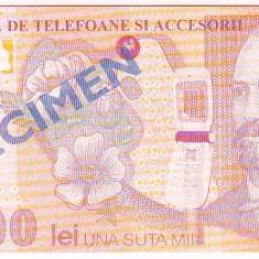100.000 lei 2001 SPECIMEN doar pentru cumparaturi din magazinele EURO-GSM - Bancnota romaneasca