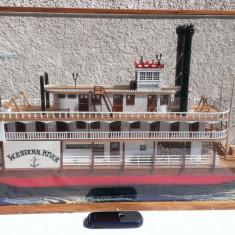 Macheta Western River/Boat Miniature - din lemn lucrat manual - Macheta Navala Alta, 1:100