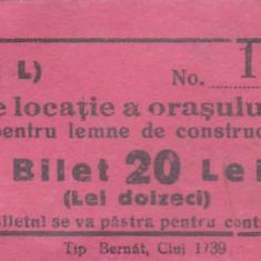 Taxa de locatie a orasului Huedin  Bilet 20 Lei  necirculata