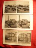 3 Fotografii stereoscopice - Napoli : Portul , S.Lucia si S. Ferdinando 1902-1904
