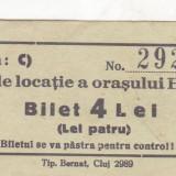 Taxa de locatie a orasului Huedin  Bilet 4 Lei  necirculata