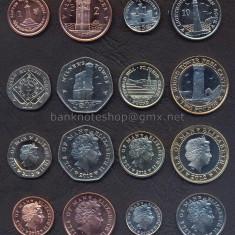 INSULELE ISLE OF MAN SET COMPLET DE MONEDE 1+2+5+10+20+50 Pence +1+2 Pounds UNC, Europa