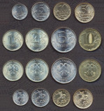 RUSIA █ SET COMPLET DE MONEDE █ 1+5+10+50 Kopeek +1+2+5+10 Rublei 2007-2011█ UNC