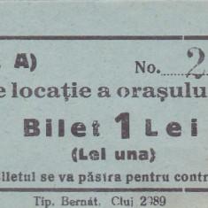 Taxa de locatie a orasului Huedin  Bilet 1 Lei  necirculata