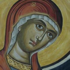 Icoana cu rama din lemn - reproducere - fragment fresca Manastirea Polovragi - pictura Bizantina !!! - Icoana pe lemn