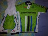echipament ciclism XXL cannondale verde set pantaloni cu bretele tricou jersey