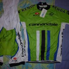 Echipament ciclism cannondale verde set pantaloni cu bretele tricou jersey bib