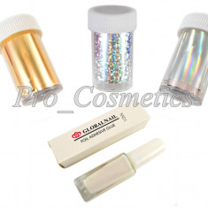 Set Folie Transfer Silver Stars, 120 cm x 3 bucati + Adeziv Special 10 ml - Model unghii