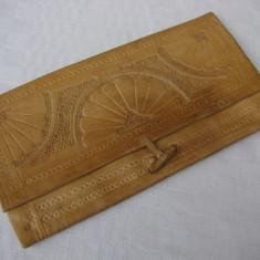Portmoneu dama din piele naturala - Portofel Dama, Camel, Portofel