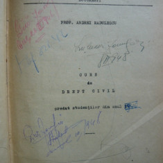 Andrei Radulescu - Curs de drept civil - probabil 1938 - Carte Drept civil