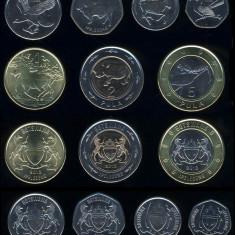 BOTSWANA SET COMPLET DE MONEDE 5+10+25+50 Thebe +1+2+5 Pula 2013 UNC, Africa
