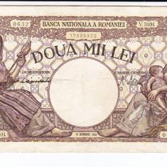 Bancnota 2000 lei 10 octombrie 1944 filigran Traian, VF+ - Bancnota romaneasca
