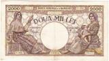 1) Bancnota 2000 lei 18 noiembrie 1941,filigran Traian,VF