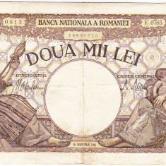 1) Bancnota 2000 lei 18 noiembrie 1941, filigran Traian, VF - Bancnota romaneasca