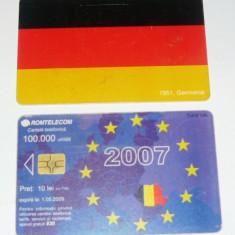 Cartela telefonica - INTRAREA IN UNIUNEA EUROPEANA - STEAGURI - GERMANIA - 2007 - 2+1 gratis pt produse la pret fix - RBK4473 - Cartela telefonica romaneasca