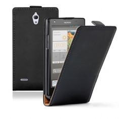 Husa HUAWEI G700 Flip Case Slim Inchidere Magnetica Black - Husa Telefon Huawei, Negru, Piele Ecologica, Cu clapeta, Toc