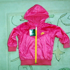 Nou! Jachetica sport de fas roz, marca NIKE original, fete 12-18 luni