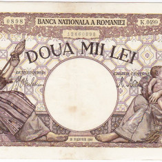Bancnota 2000 lei 18 noiembrie 1941, filigran Traian, VF+ - Bancnota romaneasca