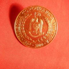 Insigna Militara 150 Ani Directia Topografica Militara, bronz, d= 2, 5 cm