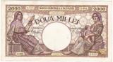 1)Bancnota 2000 lei 18 noiembrie 1941,filigran Traian,VF+