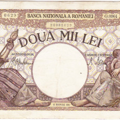 1)Bancnota 2000 lei 18 noiembrie 1941, filigran Traian, VF+ - Bancnota romaneasca