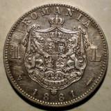 R.057 ROMANIA CAROL I 1 LEU 1881 ARGINT 4,92g