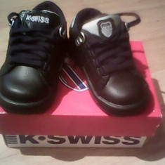 Adidasi K-SWISS LOZAN negru-argintiu, piele exterior, noi, mar 19 1/2 - Pantofi copii K-Swiss, Piele naturala