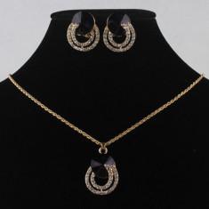 SET bijuterii LANT COLIER PANDANTIV CERCEI filat placat cu aur galben 14k