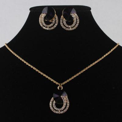 SET bijuterii LANT COLIER PANDANTIV CERCEI filat placat cu aur galben 14k foto