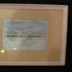 "PVM - ""Sat Troienit"" ulei pe carton nesemnat superb!, Peisaje, Miniatura"