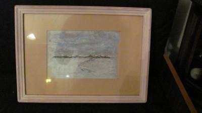 "PVM - ""Sat Troienit"" ulei pe carton nesemnat superb! foto"