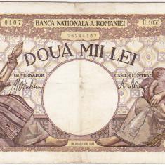 1) Bancnota 2000 lei 18 noiembrie 1941 filigran Traian - Bancnota romaneasca
