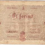 Transilvania, Ungaria, 5 FORINT 1848, nuanta maro:Debrecen, seria scrisa manual, legeda si in romana cu litere cirilice, semnatura lui Kossuth