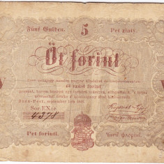 Transilvania,Ungaria,5 FORINT 1848,nuanta maro:Debrecen,seria scrisa manual,legeda si in romana cu litere cirilice,semnatura lui Kossuth