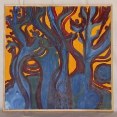 Copaci la apus - ulei pe panza - Pictor strain, Peisaje, Abstract