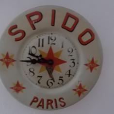 Ceas de reclama Spido Paris, in perfecta stare de functionare, din perioada anilor 1900-1920, vezi descrierea - Ceas de perete