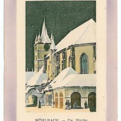474 - Alba, SEBES ALBA, Evangelical Church - old postcard, embossed - unused - Carte Postala Transilvania 1904-1918, Necirculata, Printata