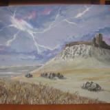"""""""Cetatea Enisala""""-pictura, Peisaje, Realism"""