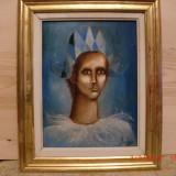 Arlechin, ulei pe panza, semnat indescifrabil , datat (19)72, Portrete, Realism