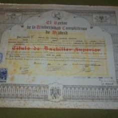 Lot sapte diplome academice Spania (Universidad Complutense de Madrid, anii '40-'70, diploma) - Diploma/Certificat