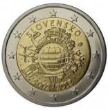 SLOVACIA moneda 2 euro comemorativa 2012 - 10 ani EURO, UNC
