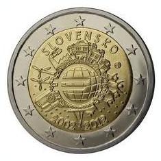SLOVACIA moneda 2 euro comemorativa 2012 - 10 ani EURO, UNC, Europa, Cupru-Nichel