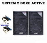 SISTEM 2 BOXE ACTIVE/AMPLIFICATE CU MIXER INCLUS,INTRARI MICROFOANE,EFECTE VOCE,MIXER INCLUS,MP3 PLAYER+2 MICROFOANE BONUS !