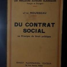 J.J. Rousseau DU CONTRAT SOCIAL * LETTRE A D'ALEMBERT SUR LES SPECTACLES Ed. Flammarion 1938 - Carte Cultura generala